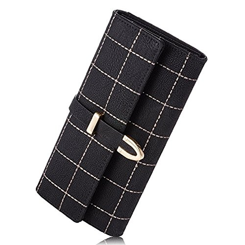 Elegant Frauen Geldbörsen PU Leder Geldbeutel Geldbörse Mappe Damen Portemonnaie Handtasche (Schwarz)
