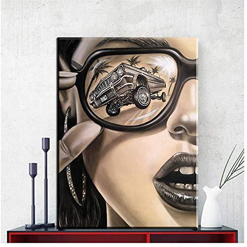 Amokr Leinwand Wandkunst 60x80cm ohne Rahmen Moderne Sonnenbrille Mode Frau Wandkunst Bilder für Wohnzimmer Home Decor Poster und Drucke