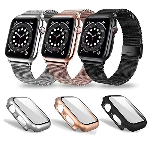 3 pack Replacement Bands Compatible for iWatch band 38mm 40mm 42mm 44mm with 3 iWatch Tempered Glass Case for Women Men, Stainless Steel iphone watch Bands Magnetic Mesh Loop smartwatch bands Strap Wristbands with iWatch Case for Smartwatch iWatch Series 3 iwatch series 6 SE 1/2/3/4/5/6/SE (Black.Rose Gold Silver, 44mm)