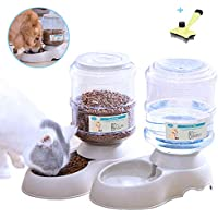 Xiapia Automatic Cat Food Feeder and Water Dispenser in Set with Slicker Brush