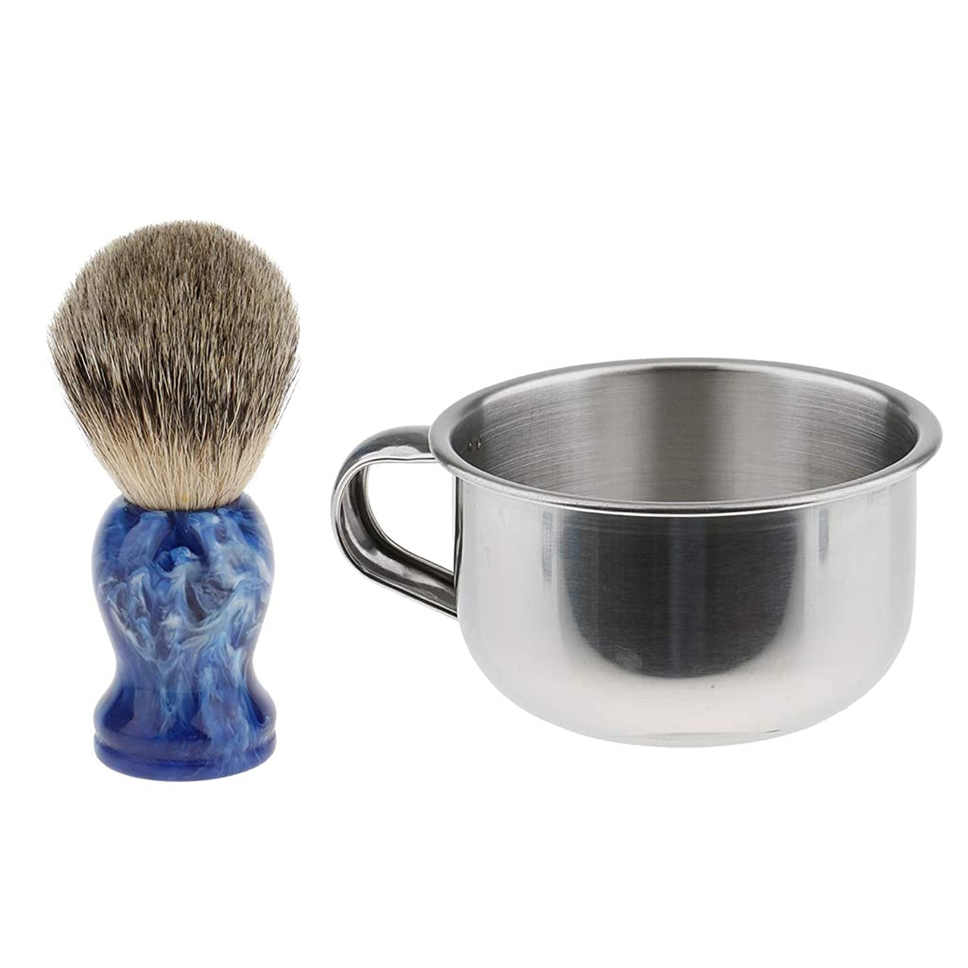 ソーダ水緩む時FLAMEER 2個セット メンズ シェービングブラシ 亜鉛合金 シェービングカップ ギフト理容 髭剃り 2色選ぶ - 青, 9cm