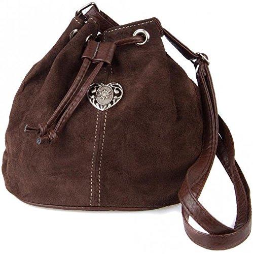 Dirndltasche Trachtentasche Wildleder Beuteltasche mit Edelweiß-Herz. Dunkelbraun.