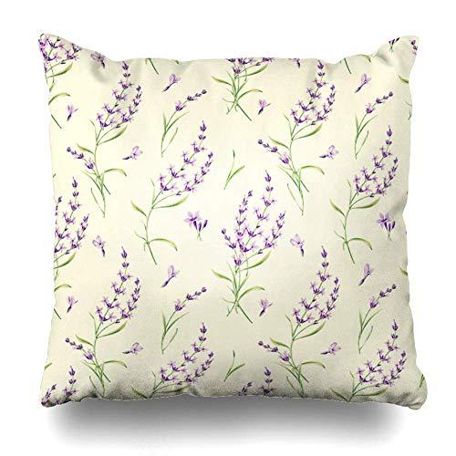 Mesllings Gooi Kussensloop Italië Artistieke Lavendel Bloemen Aquarel Patroon Plant Romantische Botanische Natuur Chique Ontwerp Kruiden Home Decor Kussensloop Vierkant Grootte 16 x 16 Inch Rits Kussensloop