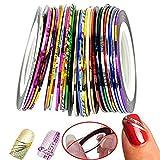 Nageldesign Nail Art Stripes,Tape Sticker Zierstreifen mit Striping Tape in verschiedenen Farben