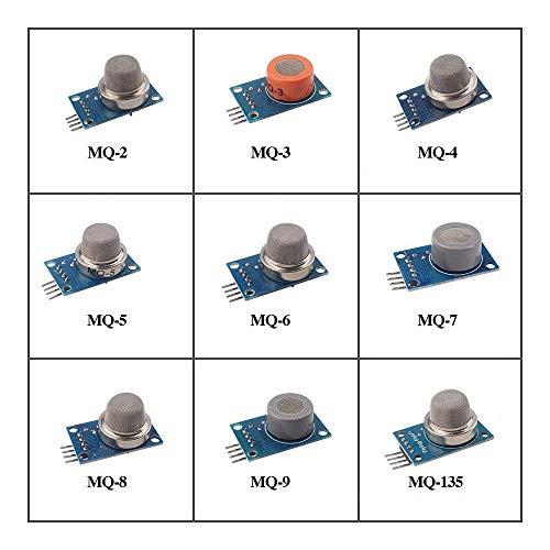 Eiechip9PCS/Lot Gas Detection Sensor Module MQ-2 MQ-3 MQ-4 MQ-5 MQ-6 MQ-7 MQ-8 MQ-9 MQ-135 Sensor Module Gas Sensor Starter Kit