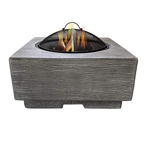 VEDKYY Fire Pits, for GardenWood Burning, with Bbq Grill And Lid, Cast Iron, 3 in 1 Rectangle Fire Pit, 60Cm, Chimera, Large, Spark Guard, Outdoor/Outside Heaters, Fire Bowl for Camping Patio
