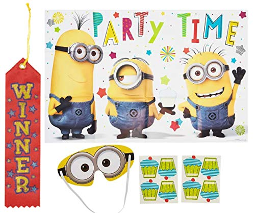 Minions/Despicable Me New Childrens Licensed Party Games!! Pin The Tail on The Donkey Style Party Game with Blindfold & Stickers! Plus 1st Winner Ribbon!