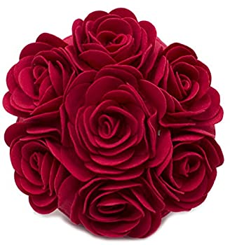 Fennco Styles Multi Rose Motifs Felt 15-inch Round Decorative Throw Pillow  Red Case + Insert