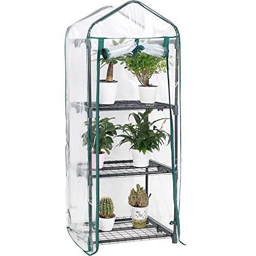 Display4top Jardín Invernaderos 51 × 45 × 130 cm, Cubierta transparente de PVC, Las hierbas o flores se pueden cultivar en interiores y exteriores durante todo el año (3 Estantes)
