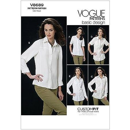 VOGUE PATTERNS V8689 - Patrones de Costura para Camisas de Mujer (Talla AA: 36-42)