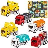HERSITY 6 Piezas Camiones de Construcción con Tapete de Juego y Camiones de Basura y Excavadora Volquete Grúa Juguete Educativo Regalos para Niños 1:32