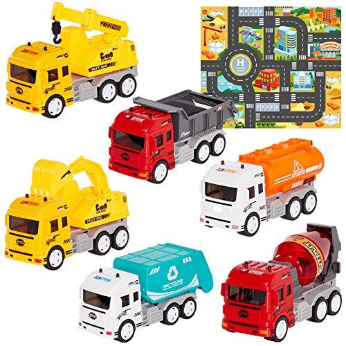 HERSITY 6 Piezas Camiones de Construcción con Tapete de Jue