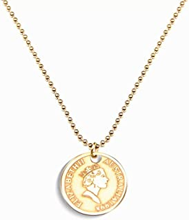 GOLD XIONG PADISHAH Coin Pendant Necklace Tiny Disc Alphabet Pendant Initial Coin Necklace 18K Gold Plated Initial Pendant...