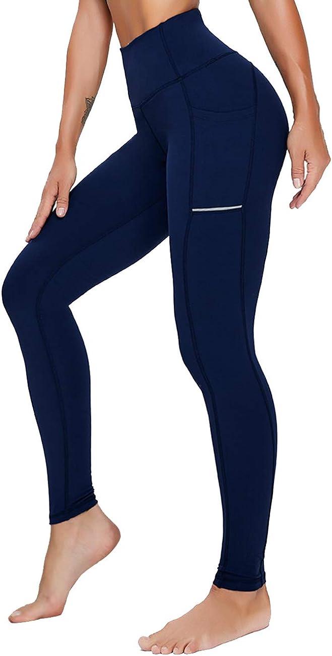 Olacia Leggings con bolsillos para mujer cintura alta control de barriga deportes gimnasio para correr