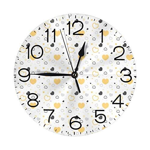 GOSMAO Reloj de Pared Redondo, corazón Gris Amarillo, Reloj de decoración del hogar para Sala de Estar, Dormitorio, Oficina