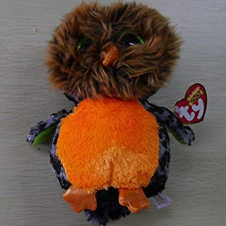 TY BEANIES BOOS Black Owl Midnight 15cm STUFFED DOLL NEW