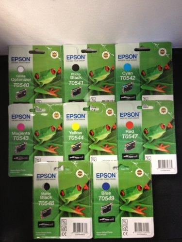 8 Original Epson Druckerpatronen T0540/41/42/43/44/47/48/49 für Epson Stylus Photo R1800 1800 R800 800 Tintenpatronen incl. 10 Blatt Photopapier 10x15cm (240g/m²)