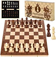 Wooden Chess Set for Kids and Adults - 15 Staunton Chess Set - Large Folding Chess Board Game Sets - Storage for Pieces...