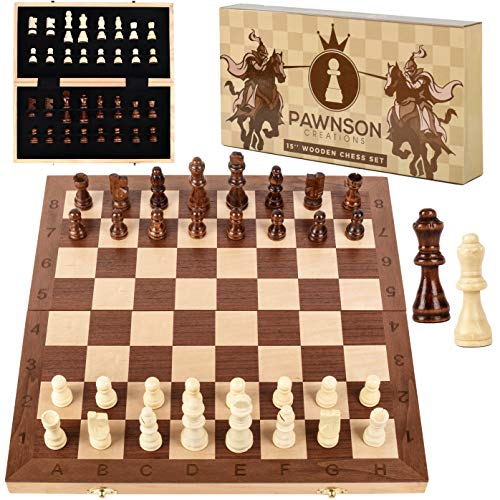 Wooden Chess Set for Kids and Adults - 15 Staunton Chess Set - Large Folding Chess Board...