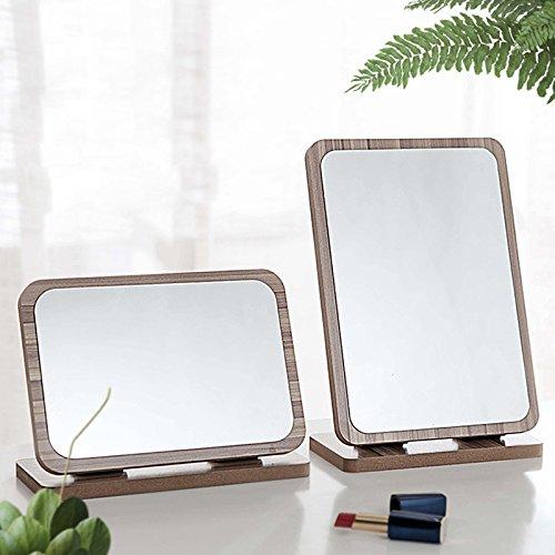 Yanshan Miroirs de maquillage en bois de bureau 3X grossissant à 180 degrés tournant outil de maquillage de salle de bains de vanité portable (Color : NO. 05#)