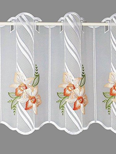 Blütentraum- Scheibengardine ORCHIDEENBLÜTEN lachs-rosa Echte Plauener Stickerei Spitzenpannaux in 2 Höhen
