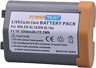 PowerTrust 1-Pack 3000mAh EN-EL18 EN-EL18A Rechargeable Battery for Nikon EN EL18 ENEL18 Nikon D4, D4S, D5, MB-D12, D800, D800E Camera