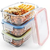 Glass Meal Prep Containers 3 Compartment, Food Storage Container Set with Airtight Locking...