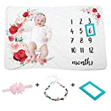 Moon Baby Monthly Milestone Blanket for Boy and Girl Floral Flannel Baby Growth Chart Blanket with Floral Wreath & Headband + Frame Best Photographic Backdrop for Newborn Baby Shower