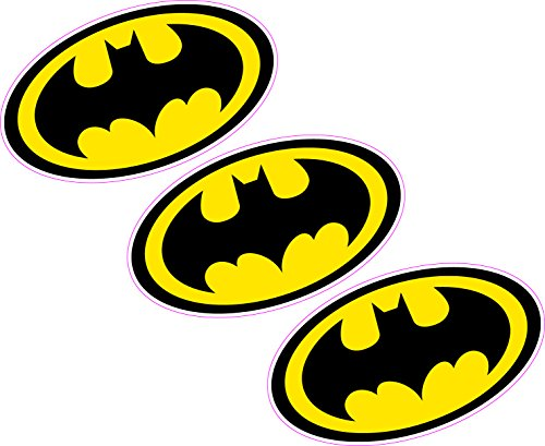 3 x Batman Logo 80 mmx46 mm Wappen Vinyl Aufkleber Wand Auto Laptop Superheld Comic Book
