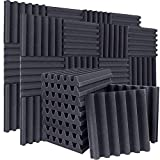 24 Pack Acoustic Foam Panels Sound Proof Padding,2' X 12' X 12' Sound Absorbing Dampening Foam Panels High Density Studio Foam Wedge Tiles idea for Acoustic Treatment and Wall Decoration (Arc Shaped)