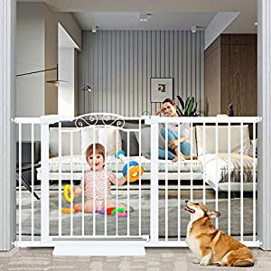 Fairy Baby Extra Wide Baby Gate for Kids Or Pets Walk Thru Dog Gates for The House Doorway Child Safety Gate 59.84″-62.60″