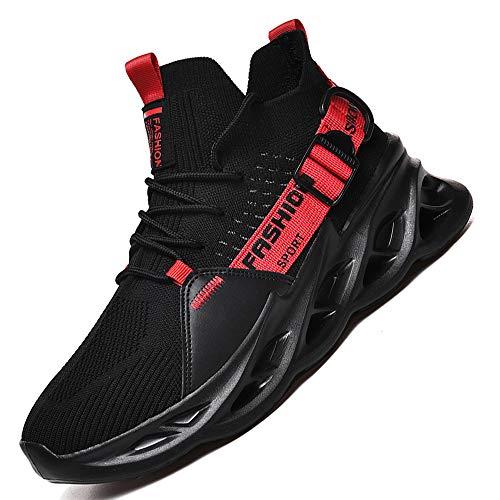 AARDIMI Herren Laufschuhe Fitness straßenlaufschuhe Sneaker Sportschuhe atmungsaktiv Anti-Rutsche Gym Fitness Schuhe (Schwarz rot, Numeric_41)