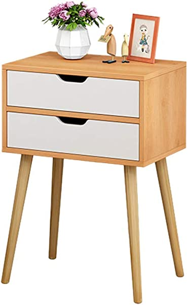 Side End Table Nightstand Fineser Assemble Storage Cabinet Bedroom Bedside Locker 2 Drawers Storage Bedside Table Solid Wood Legs Nightstand With White Storage Drawer Ship From US Nordic Pine Color