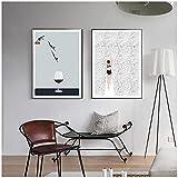 QIAOB Impresiones en Lienzo, póster nórdico Abstracto, Pintura en Lienzo de Copa de Vino para Nadar, Cuadros artísticos de Pared, Impresiones Decorativas sin Marco