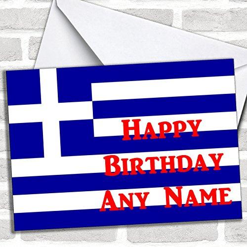 Griekse vlag Griekenland Verjaardagskaart met envelop, kan volledig worden gepersonaliseerd, snel en gratis verzonden