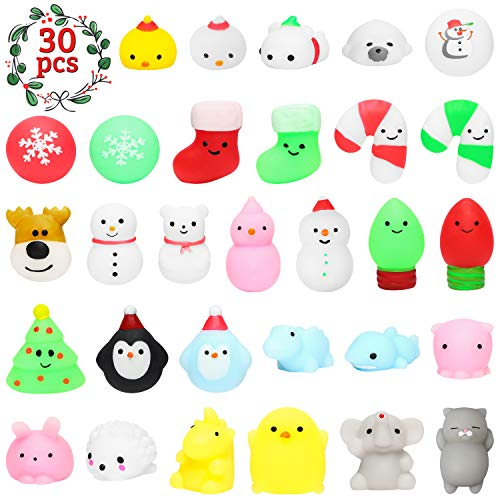 MALLMALL6 30Pcs Christmas Mochi Squeeze Toys for Kids Party Favors, Kawaii Animal Squeeze Stress Relief Toys for Christmas Decoration Treat Bags Gifts, Birthday Gifts, Classroom Prize, Goodie Bag