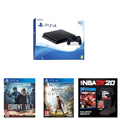 PS4 500 Go noire + Assassin's Creed Odyssey + Resident Evil 2 + NBA 2K20