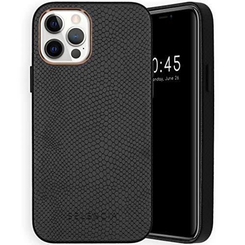 Selencia - Funda para iPhone 12, iPhone 12 Pro - Gaia Snake Back Cover Case - Funda para móvil con aspecto de piel de serpiente en negro [forro de microfibra compatible Qi]