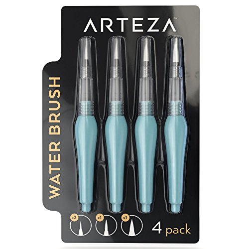 Arteza Water Brush Pen, Set of 4, Refillable, Self-Moistening, Assorted Tip Sizes, Use for Watercolor Art or with Water Soluble Colored Pencils, Real Brush Pens, and More