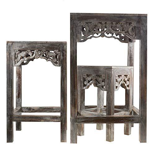 3-tlg. Holz Tisch Set Beistelltisch 3 Höhen bis 72cm handmade - Tische Tischchen
