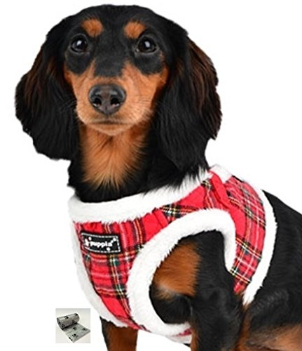 """Santa's Reindeer Step in Jacket Vest Harness Travel Set with Smart Tag- Plaid or Red – Dog Sizes S Thru XL (Red Plaid, XL fits Neck 12.5"""" Chest 19.75"""")"""