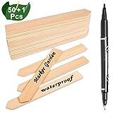 Whaline 50 STK Pflanzenschilder Holz Pflanzenstecker, und 1stück Marker Pen, Stecketiketten Holz...