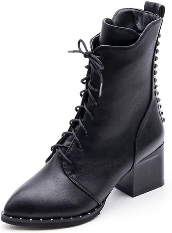 T-JULY Women Mid Calf High Heel Boots Calssic Zipper Rivets Sexy Ladies Short shoes