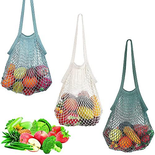SDFSA 3 Piezas Bolsas de Malla Reutilizables, Bolso de Compras de Malla de Algodón, Orgánico de Bolsa de Malla, Algodón Natural Bolsa de Compras con Mango para Frutas, Verduras, Juguetes (3 Colores)