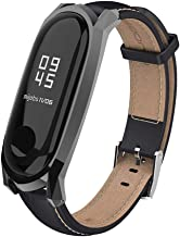 Mijobs Compatible Xiaomi Mi Band 3, Genuine Leather Replacement Strap Breathable Wristband with Metal Frame Bracelet Accessories for Xiaomi Mi Band 4 Smart Watch Bracelet