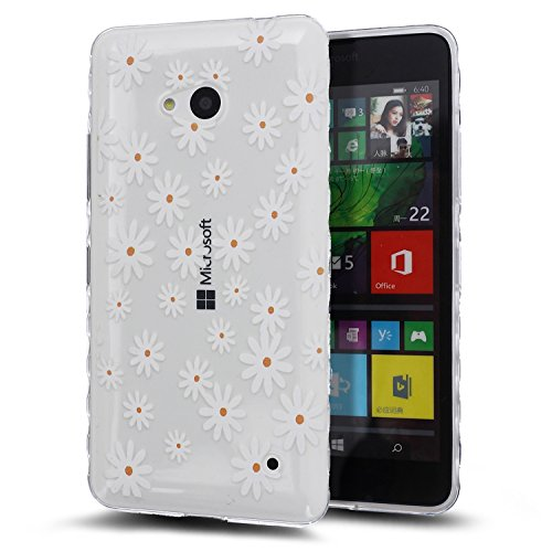 Kompatibel mit Microsoft Lumia 550 Hülle,Malerei Transparent TPU Silikon Handy Hülle Tasche Silikon Crystal Hülle Durchsichtig Schutzhülle Bumper für Microsoft Lumia 550,Weißes Gänseblümchen Blumen