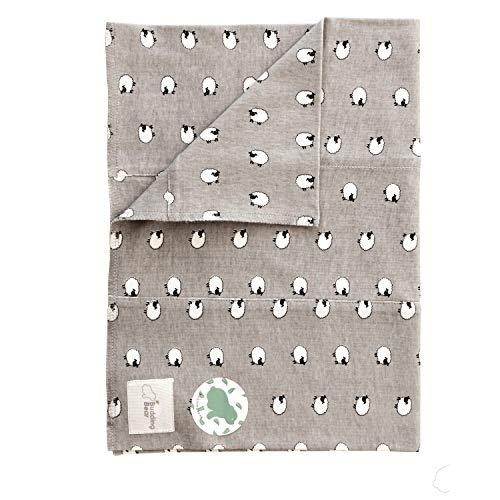 Budding Bear Mussola in Cotone Neonato 100% Biologico - Panni Anti-Rigurgito per Bebè - 1 Pezzo - Panno per il Ruttino 31cm X 44cm - (pecore)