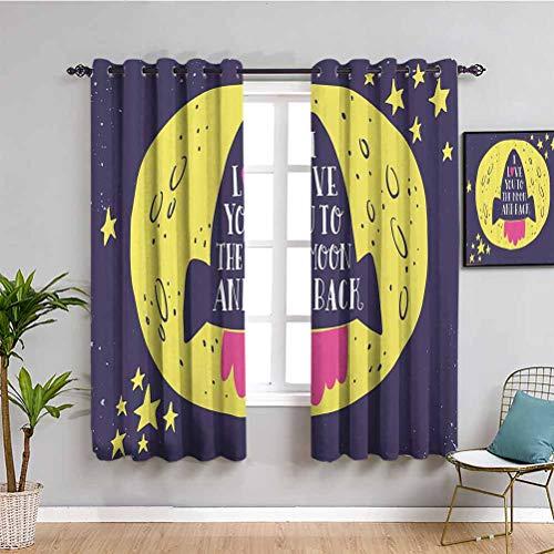 Love Decor - Cortina opaca con texto 'Rocket Goes to the Space I Love You to the Moon and Back cita de San Valentín con texto en inglés 'Bring beauty', color amarillo índigo (72 x 72 pulgadas)