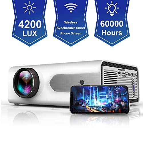 "HOLLYWTOP Upgraded Mini Portable Projector 4200 Lux WiFi Wireless Synchronize Smart Phone Screen,1080P Supported 180"" Display, Multimedia Connections, Compatible with Laptop/PS4/Fire TV Stick/Computer"