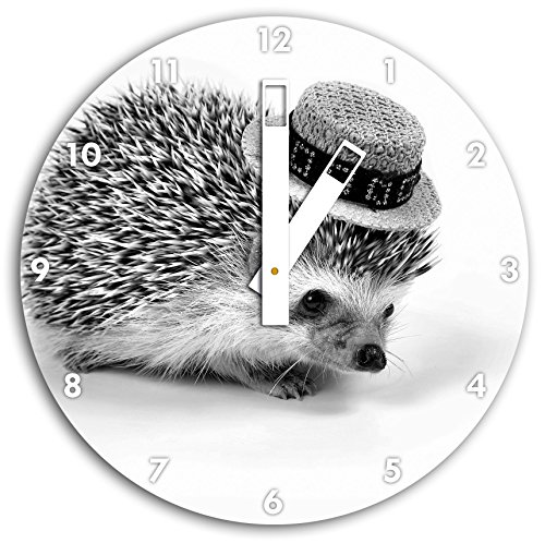 Monocrome, hérisson drôle avec chapeau, horloge murale diamètre 30cm avec du blanc en tête les mains et le visage, objets décoratifs, Designuhr, aluminium composite très agréable pour salon, bureau